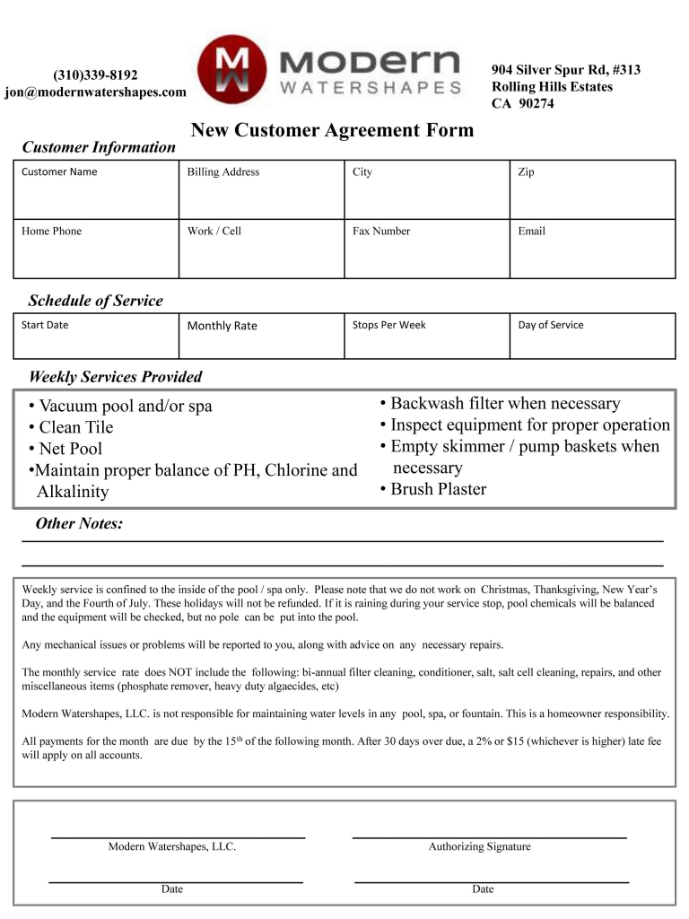 Pool Service Agreement Water Feature Maintenance